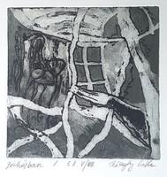 Csilla Kőszeghy - in an apartment building i. 14 X 14 cm etching