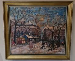 Winter street scene (1874 - 1938) b.A