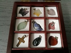 Mineral pendants in a gift box