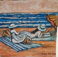 Women on the beach - signed painting