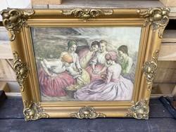 Imre Révész (1859-1945) corn stripping in antique colored etching blond frame