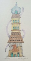 Miller gabriella - tower 25 x 10 cm watercolor on paper