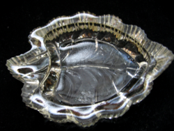 Art deco leaf shape, pale amber ashtray
