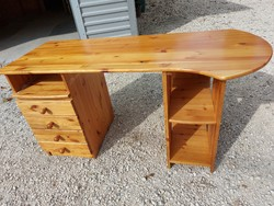 For sale is a 4-drawer, 1 pull-out shelf, curved pine desk. Furniture in good condition, no scratches.