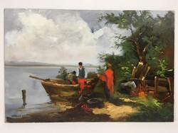 István Károlyi: waterfront scene, oil painting