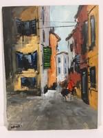 István Károlyi: alley in trogir, oil painting