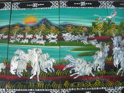 Galloping horses! Chinese lacquer pictures!