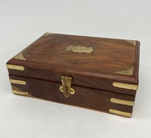 Old chinese copper engraved rosewood box chest crate gift box jewelry storage china japanese asia