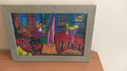 Interesting interior-like painting with a very hidden signature 34x25 cm
