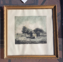 Wooden house colored, marked etching in glazed frame 45x45 cm