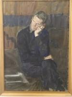 Bod László : Férfi portré (önarckép?) -nagyméretű,  eredeti olajfestmény - 1 forintról.
