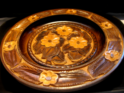 Brown-beige floral wooden bowl, plate carved, engraved craft work