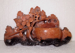 Old antique Chinese hand carved pumice carving sculpture figurine flower ornament