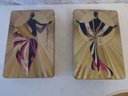 Metal boxes with art deco decoration.