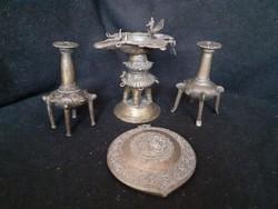 Indiai olajlámpa, festéktartó, vallási dísztárgyak, antik réz tárgyak, szertartási kellékek, 1 Ft