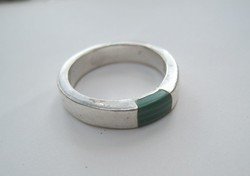 Silver ring with malachite insert - 1 ft auctions!