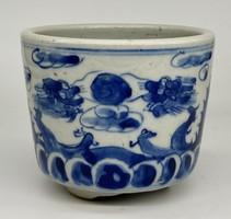 Antique Chinese dragon hand painted marked blue white porcelain bowl dish brush brush washer