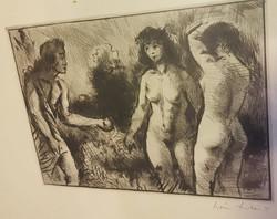Iván Szilárd : Paris, Helena és az aranyalma. Mitológiai jelenet akt