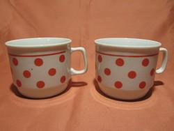 2 db Zsolnay piros pöttyös bögre, csésze