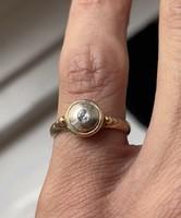 1 Forintról! Arany, Art Deco régi csiszolású briliáns gyűrű.