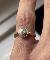 About 1 forint! Gold, art deco old polished brilliant ring.