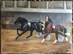 Horse racing oil / canvas c. 1930
