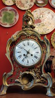 1920s boulle wood and bronze decorated fireplace clock. F-24