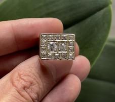 1 Forintról!!! Arany pecsét gyűrű, 14 karátos, 8,5 gramm 1,1 karát régi csiszolású Briliánssal!