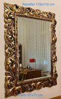 Téglalap alakú, nagy méretű tükör, aranyfüsttel fújt, faragott florentin kerettel