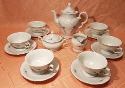Aranyozott, kidomborodó mintázatú, gyönyörű Wawel 6 személyes porcelán hibátlan kávés/teás készlet