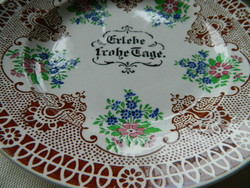 """Antique hand painted rare villeroy & boch dresden """"live the happy days"""" plate, decorative plate"""