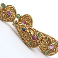 18KGold earrings with emeralds-sapphires-rubies