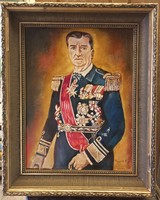 Nagy méretű, régi, szignózott, Horthy Miklós portré, hagyatékból