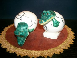 Figural salt and pepper holder crocodile pair 7.5 Cm high special beautiful flawless pieces.