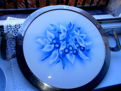Art Nouveau cherry large tray with faience insert with metal border 45.5 cm
