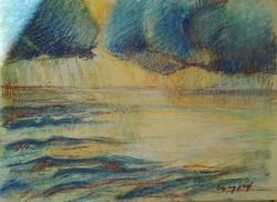 Stormy Balaton. Pastel paper. Size: 40x31 cm.