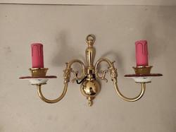 Antique porcelain inlaid rose motif copper Flemish wall sconce 84