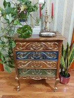 4 Drawer individually painted baroque chest of drawers
