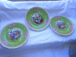 3 antique scene porcelain plates together 500 ft / pc