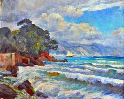 KÁRPÁTHY László (1900-1945) festmény, Tengerpart vitorlással, 1930-as évek, kerettel 71 x 84 cm