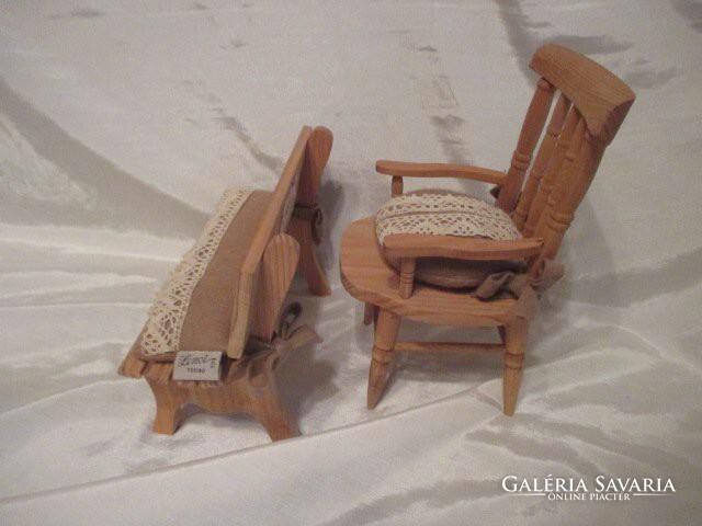 Lenci Torino babaház bútor.Karfás szék & pad.23 21 cm