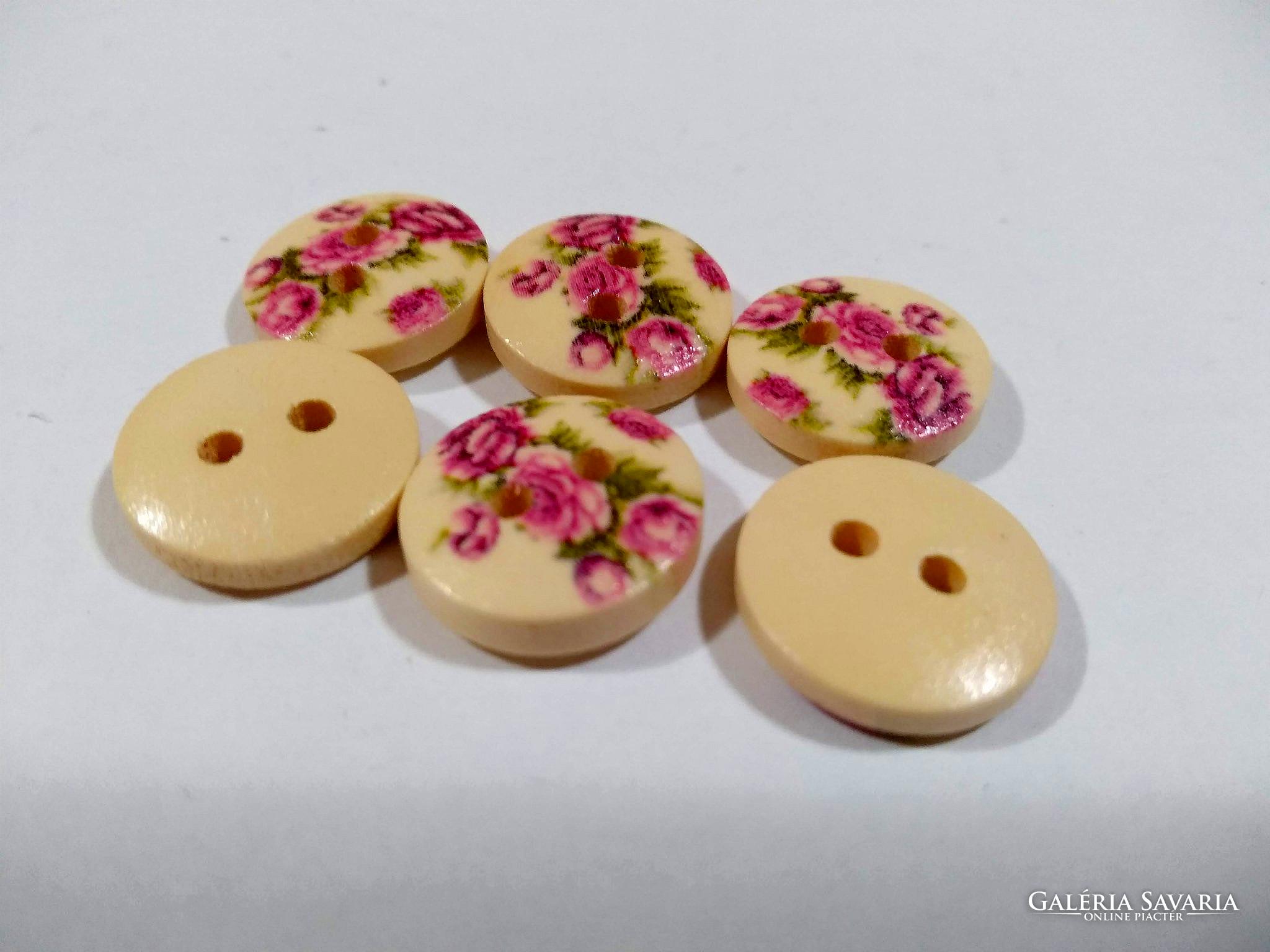 Festett virágos 2 lyukú fa DIY gombok - Wardrobe  2bc53ed0e0